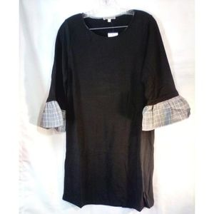 Pleione Top Sz M Black Long With Plaid Bell Sleeve